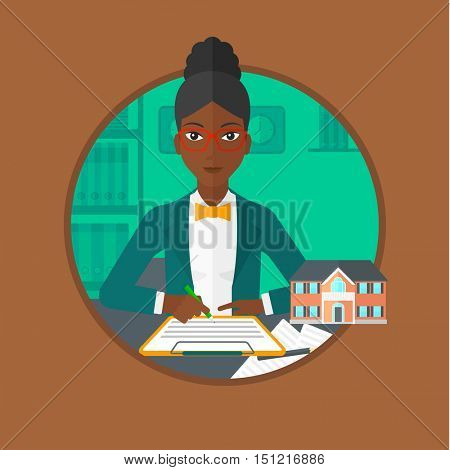An african-american real estate agent signing a contract. Woman sitting at workplace in office with a house model on the table. Vector flat design illustration in the circle isolated on background.