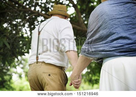 Olderly Couple Happiness Romantic Park Concept