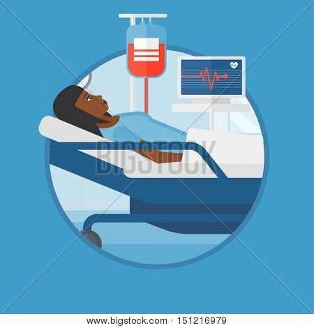 An african woman lying in bed at hospital ward. Patient with heart rate monitor and equipment for blood transfusion in medical room.Vector flat design illustration in the circle isolated on background