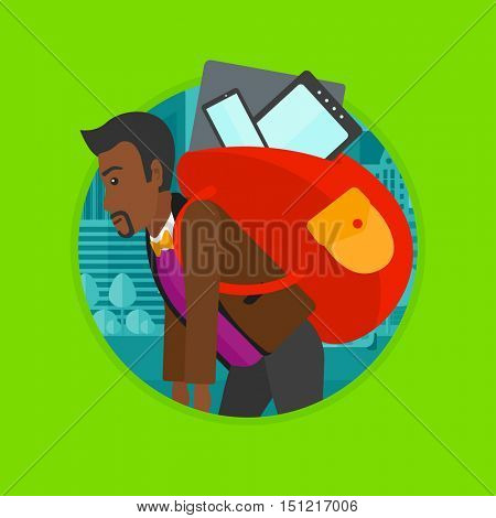 An african-american man walking with backpack full of different devices. Man walking with many electronic devices in the city. Vector flat design illustration in the circle isolated on background.