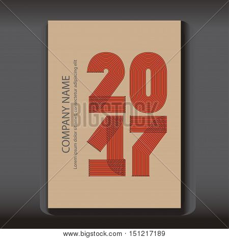 Cover Annual Report numbers 2017 modern design on blue background year 2017 in thin lines striped minimalist numbers written with a pen vector illustration