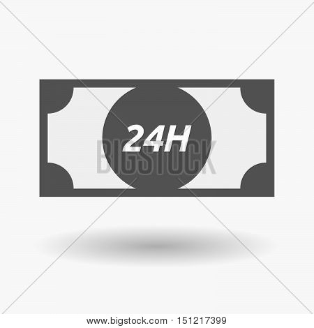 Isolated Bank Note Icon With    The Text 24H