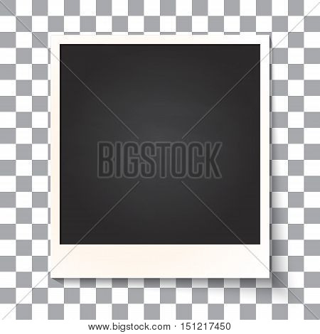 Old empty realistic mate photo frame with transparent shadow on plaid black white background. Photo border to family album. Vector illustration for your design and business.