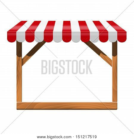 Street stall with red awning and wooden rack. Stand for sale. Vector  illustration.
