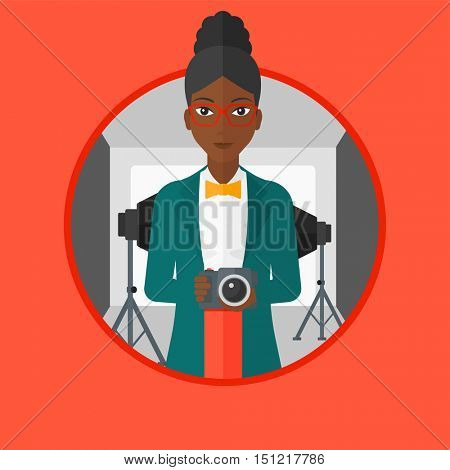 An african photographer holding camera in photo studio. Photographer using camera in studio. Woman taking photo with digital camera.Vector flat design illustration in the circle isolated on background