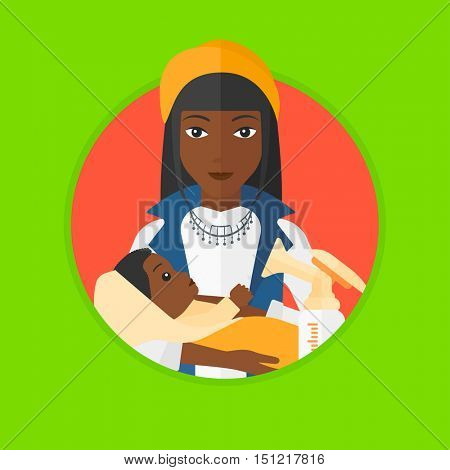 An african-american mother holding a newborn baby in hands. Woman and breast pump. Mother feeding baby. Young mother nursing baby. Vector flat design illustration in the circle isolated on background.