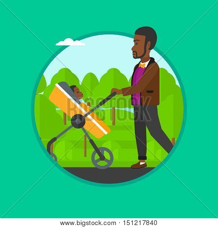 African-american father walking with baby stroller in the park. Father walking with baby in stroller. Father pushing baby stroller. Vector flat design illustration in the circle isolated on background