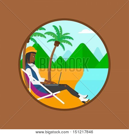 An african-american business woman sitting in chaise lounge and working on a laptop. Woman with laptop relaxing on the beach. Vector flat design illustration in the circle isolated on background.
