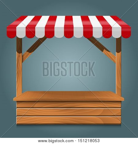 Street stall with red awning and wooden rack and counter. Stand for sale. Vector  illustration.