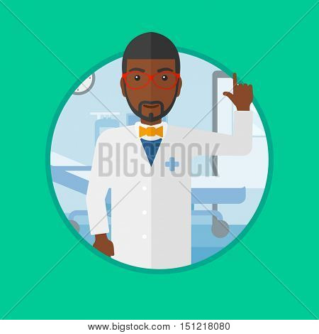 An african-american doctor showing finger up. Doctor with finger up in the hospital ward. Man in medical gown pointing finger up. Vector flat design illustration in the circle isolated on background.