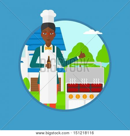African-american woman with bottle in hand cooking meat on gas barbecue grill and giving thumb up. Woman cooking in the backyard. Vector flat design illustration in the circle isolated on background.