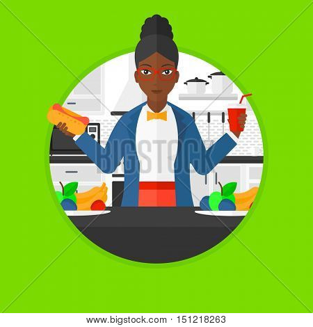 An african-american fat woman eating fast food in the kitchen. Young woman choosing between fast food and healthy food. Vector flat design illustration in the circle isolated on background.