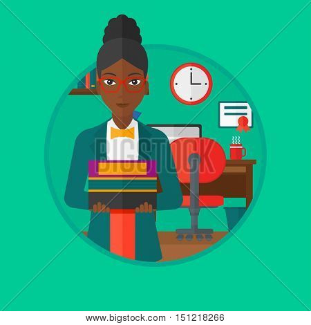 An african-american student holding pile of books. Woman with pile of books in hands at home. Smiling student with stack of books. Vectr flat design illustration in the circle isolated on background.