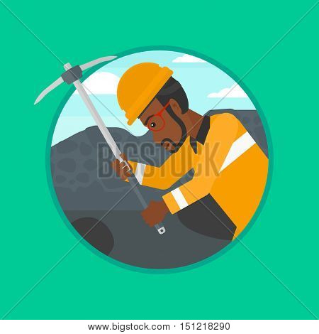 An african-american miner working with a pickaxe. Mine worker in hard hat. Miner at the coal mine. Vector flat design illustration in the circle isolated on background.
