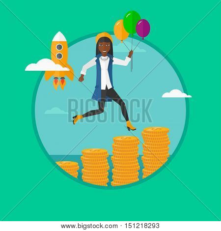 African-american woman with balloons flying over gold coins and a business start up rocket flying nearby. Business growth concept. Vector flat design illustration in the circle isolated on background.