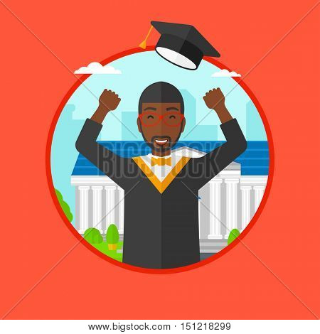 An african graduate in cloak and graduation hat throwing up his hat. Graduate celebrating on a background of educational building. Vector flat design illustration in the circle isolated on background.