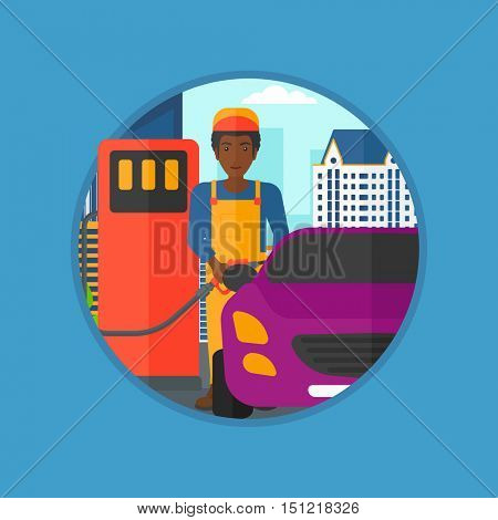 An african-american worker filling up fuel into the car. Worker in workwear at the gas station. Gas station worker refueling a car. Vector flat design illustration in the circle isolated on background