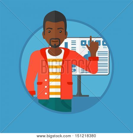 An african-american businessman pointing at charts on a board during business presentation. Man giving a business presentation. Vector flat design illustration in the circle isolated on background.