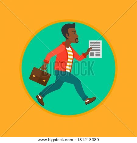 An african businessman running with a briefcase and a document in hands. Businessman in a hurry. Concept of stress in business. Vector flat design illustration in the circle isolated on background.