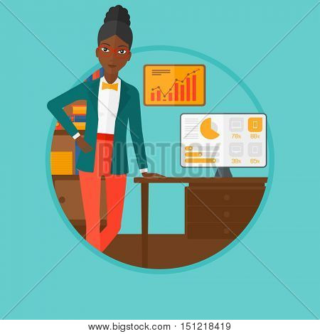 An african-american business woman standing in office during business presentation. Business woman giving a business presentation. Vector flat design illustration in the circle isolated on background.