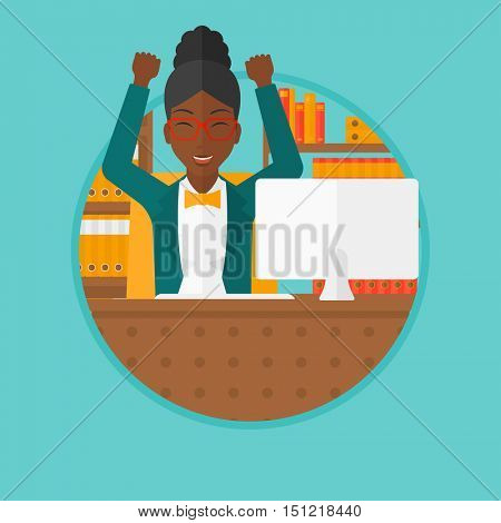 African-american young business woman celebrating with arms up while sitting at workplace in office. Successful business concept. Vector flat design illustration in the circle isolated on background.