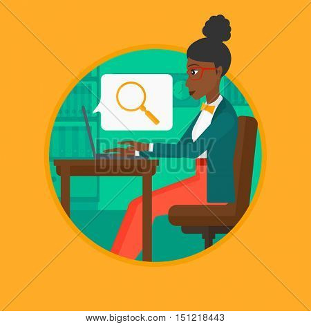 An african-american business woman working on laptop in office and a magnifying glass coming out from screen. Concept of search. Vector flat design illustration in the circle isolated on background.