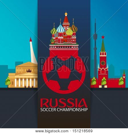 Russia. Sport, Football. Vector Illustration. Soccer Championship