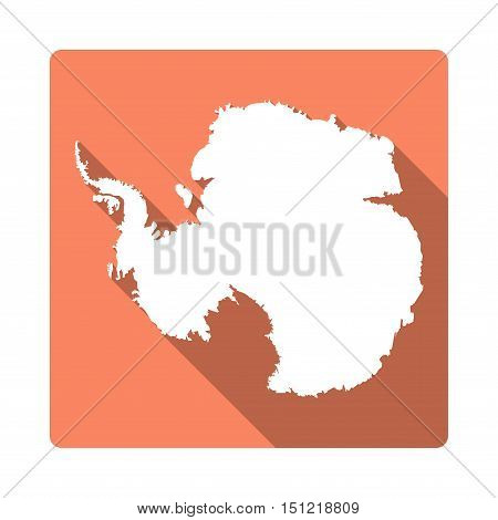 Vector Antarctica Map Button. Long Shadow Style Antarctica Map Square Icon Isolated On White Backgro