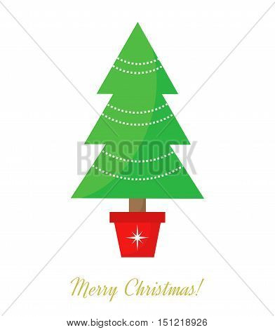 Christmas tree decorated in pot. Vector illustration
