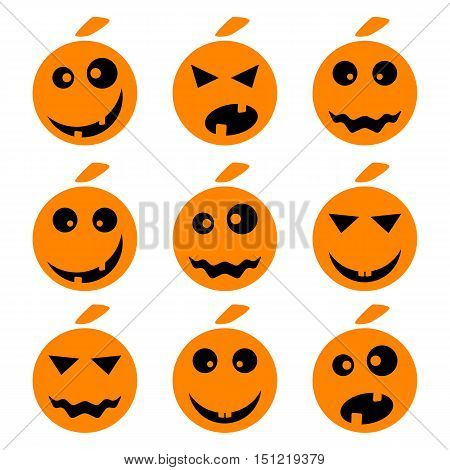 Halloween pumpkin emoji emoticons set. Smiley face holiday symbol flat vector icons. Different facial emotions and expressions. Cute cartoon character mood and reactions for text chat or web messenger