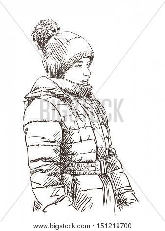 Sketch of young girl in winter clothes Hand drawn vector illustration