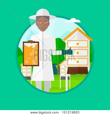 An african-american young woman in protective suit holding a framework in hand and showing thumb up while standing at apiary. Vector flat design illustration in the circle isolated on background.