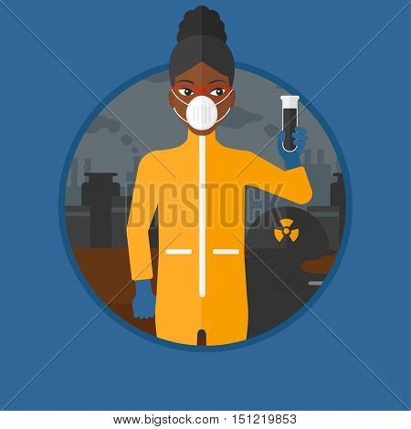 African-american woman in radiation protective suit holding a test-tube with black liquid on a background of nuclear power plant. Vector flat design illustration in the circle isolated on background.