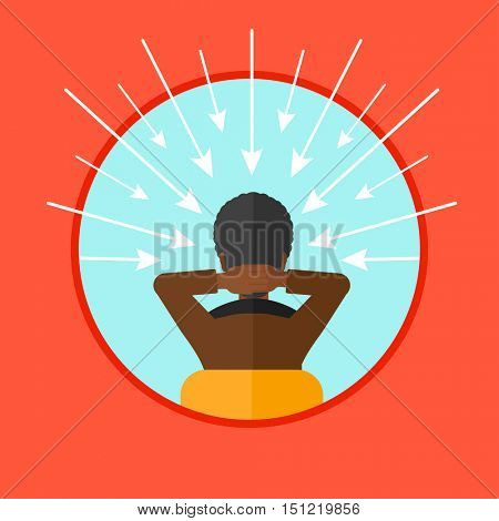 Rear view of an african-american man with some arrows poinded to his head. Young man choosing carrer way. Concept of career choice. Vector flat design illustration in the circle isolated on background