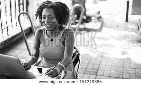 African Descent Digital Device Communication Concept