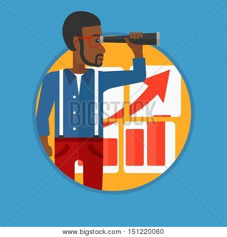 An african-american young businessman looking through a spyglass at chart. Man searching the opportunities for business growth. Vector flat design illustration in the circle isolated on background.