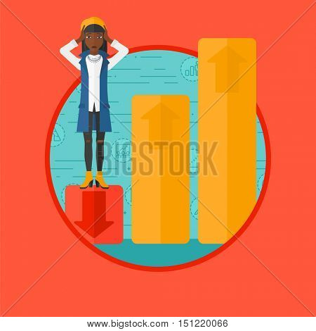 An african-american frightened bankrupt clutching her head. Bankrupt standing on chart going down. Concept of business bankruptcy. Vector flat design illustration in the circle isolated on background.