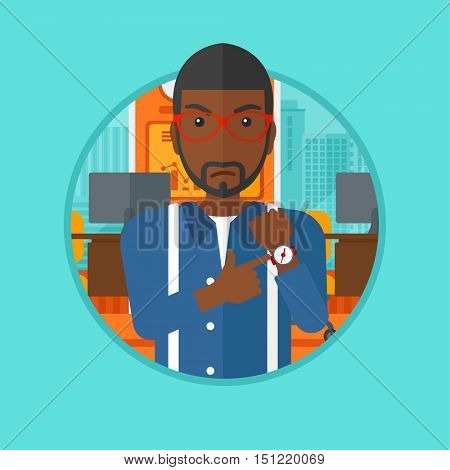 An african-american angry man standing in the office and pointing at his wrist watch. Businessman angry for being late of employee. Vector flat design illustration in the circle isolated on background