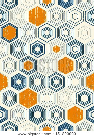 Seamless Chaotic Hexagon Pattern. Trendy Hipster Texture. Vector Modern Monochrome Background. Blue and Orange Geometric Print Design
