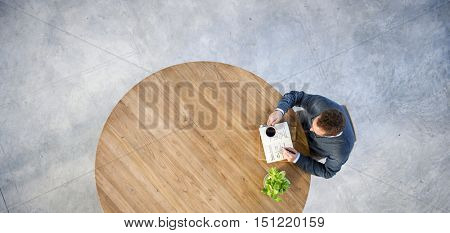Man Thinking Writing Notebook Coffee Break Relaxation Concept