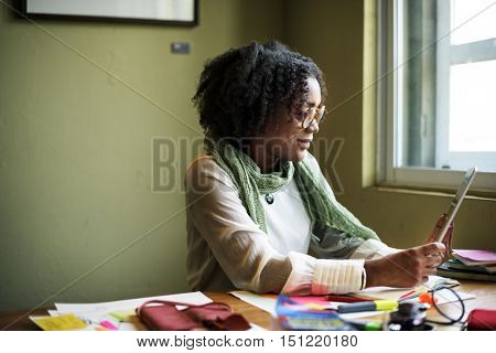 African Descent Businesswoman Digital Device Concept