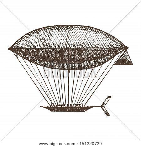 Zeppelin Hand Draw Sketch. Retro Airship or Dirigible. Vector illustration