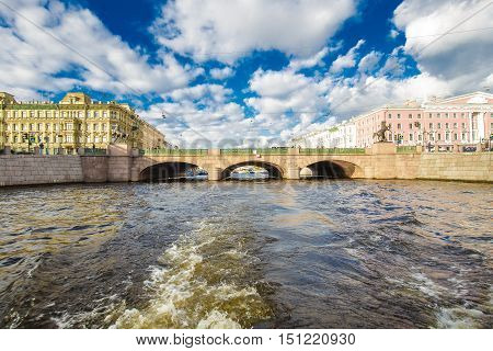 Griboyedov Canal a walk on the tourist boat view of Anichkov Bridge 14 September Saint-Petersburg Russia