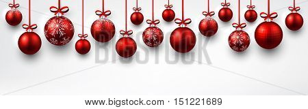 New Year banner with red Christmas balls. Vector illustration.