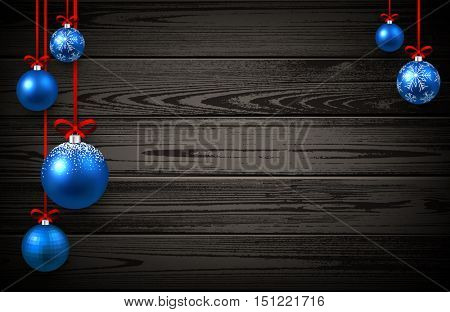 New Year wooden background with blue Christmas balls. Vector illustration.