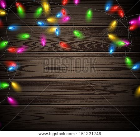 Wooden background with Christmas garland of color lights. Vector illustration.