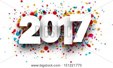 2017 white sign with colour drops background. Vector paper illustration.
