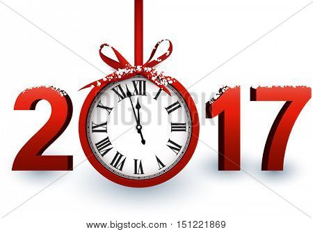 2017 New Year white background with red clock. Vector illustration.