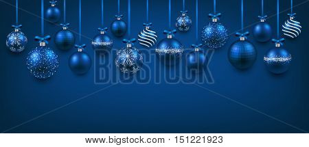 New Year blue banner with Christmas balls. Vector illustration.
