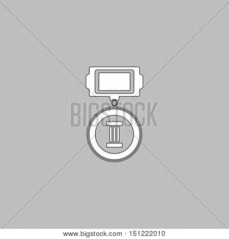 Medal Simple line vector button. Thin line illustration icon. White outline symbol on grey background